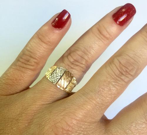 labelejoias anel feminino tricolor oferta ouro 18k 750.