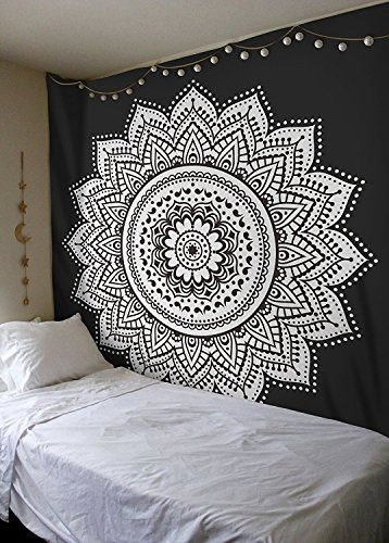 labhanshi tapiz de mandala blanco negro, colgante de pared