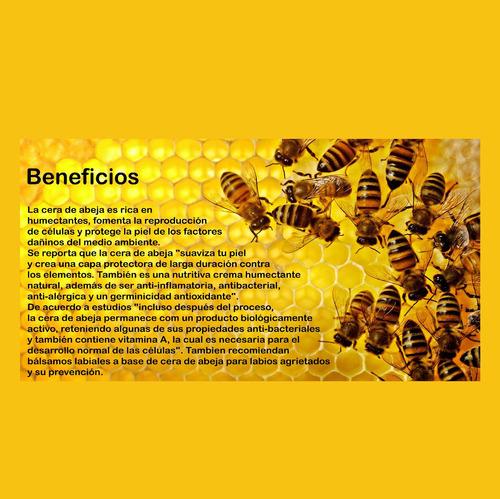 labial - bálsamo a base cera de abejas 100% natural