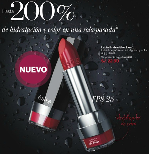 labial esika hidracolor 2 en 1 hidratación e intenso color