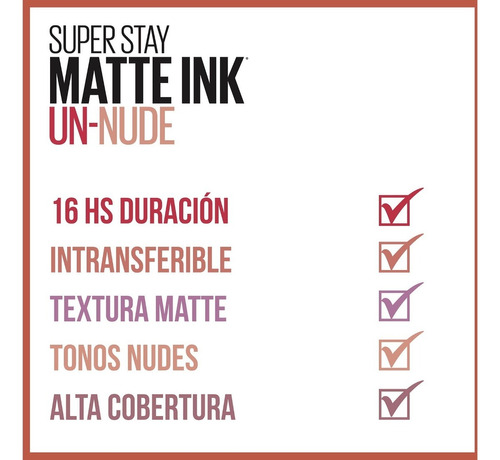 labial líquido maybelline super stay matte ink unnude 4.8 ml