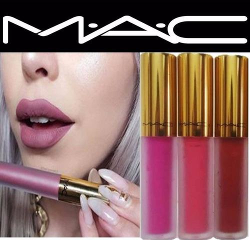 labial liquido super mate mac de lujo x4 maquillaje tienda