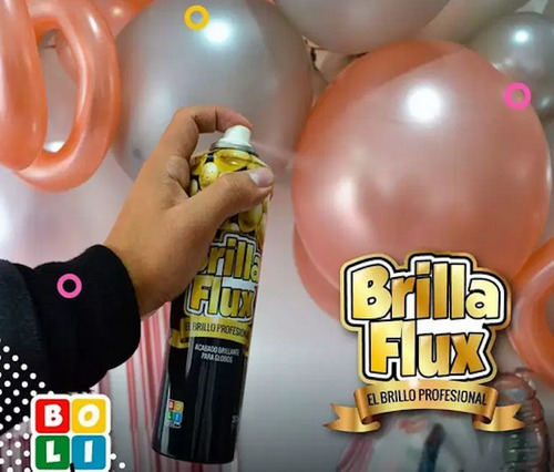 laca spray brillo brilla flux acabado brillante para globos