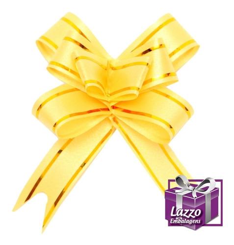 lacinho 12mmx25cm 100 marrom e 100 amarelo com dourado