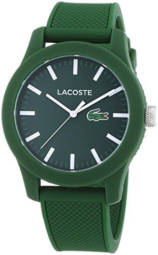 lacoste hombres l.12.12 reloj de pulsera de silicona verde