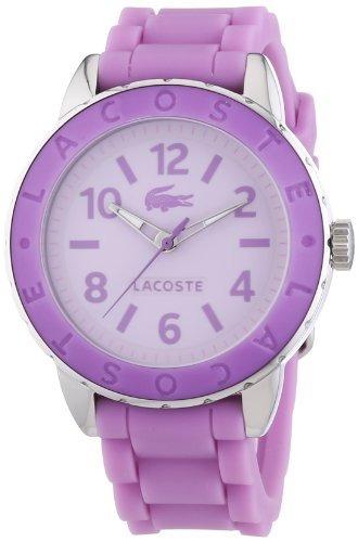 lacoste mujer rio  púrpura reloj de cuarzo de goma con esfe