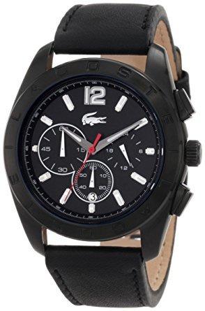 lacoste sport panama black dial men's watch #