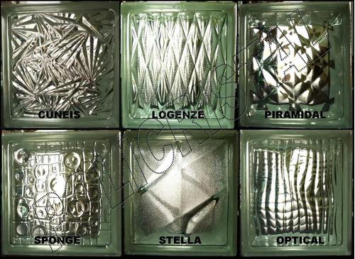 ladrillos de vidrio modelos fantasia  19x19x8 importados!!