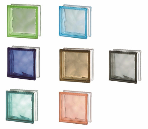 ladrillos de vidrio nube suave, rosa, verde, azul, gris