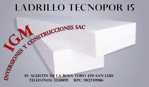 ladrillos techo 15 casetón tecnopor 15 x 30 x 120 cms