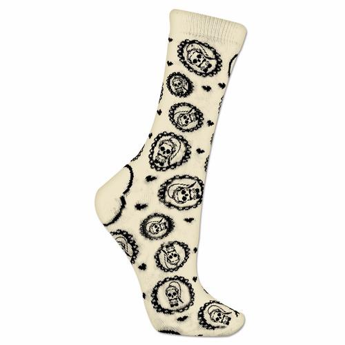 lady gaga - skeleton gaga par de calcetas blancas