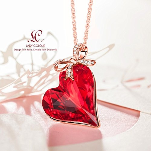 Ladycolour red heart pendant necklace swarovski cristales j ladycolour red heart pendant necklace swarovski cristales j aloadofball Gallery