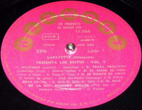 lafayette presenta los éxitos vol 3 disco lp vinilo