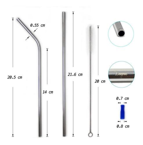 lagnie set 8 popotes metálicos reusables acero inoxidable pajillas plateados combinado rectos curvos 21.6 ó 26.7 cm full