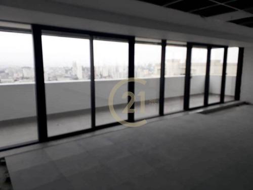 laje comercial nova 1.046m² vão livre 30 vagas andar alto avarandada, piso elevado, instalações ar condicionado central, barra funda, fórum, terminal - cj3233