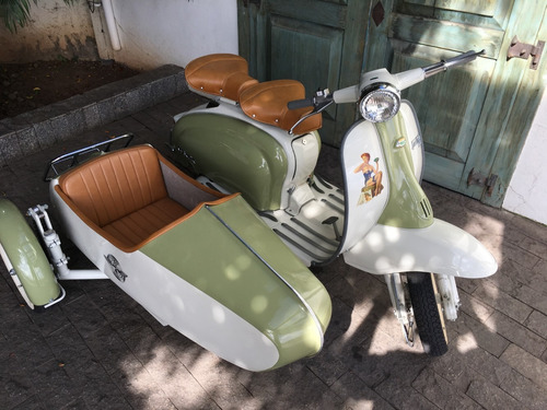 lambretta li 1965, moto antiga, placa preta, side car fbva