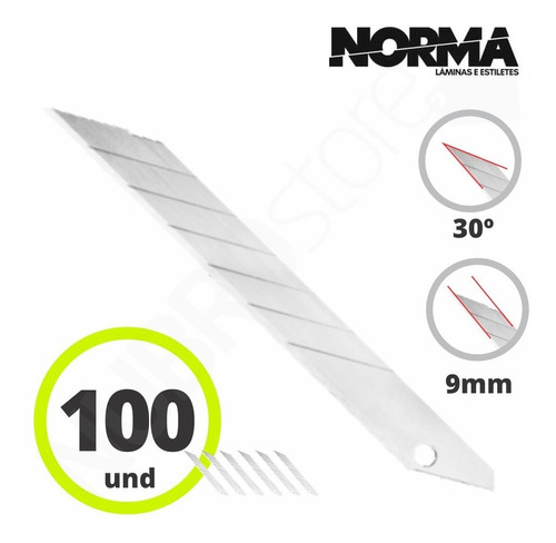 lamina 30 graus para estilete de 9mm uso profissional c/100