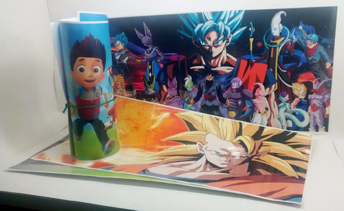 lámina 33x65cm de papel grueso plastificada - dragon ball