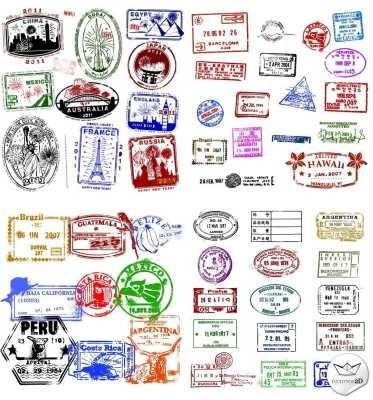 lamina 45 x 30 cm. - viaje - sellos de pasaporte 3