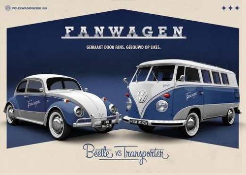 lámina 45 x 30 cm. - volkswagen combi y escarabajo