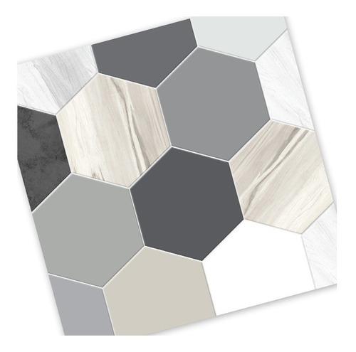 lamina azulejos autoadhesivos hexagonales wood concret