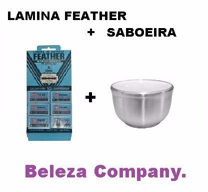 lamina de barbear gilete feather + saboeira de porcelana
