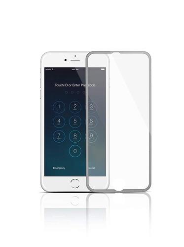 lamina de vidrio para iphone 7 plus 8 plus borde color plata