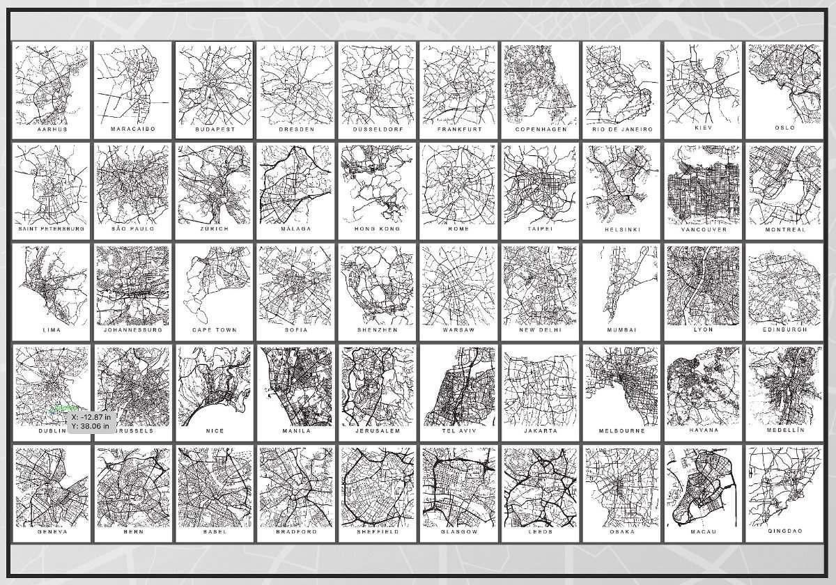 Lamina Decorativas Cuadros Mapas Ciudades Para Enmarcar - $ 600,00 ...