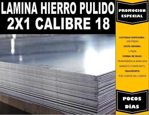 lámina hierro pulido 2x1mts calibre 18