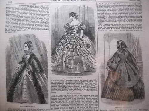 lamina illustrated london 1859. moda femenina de epoca