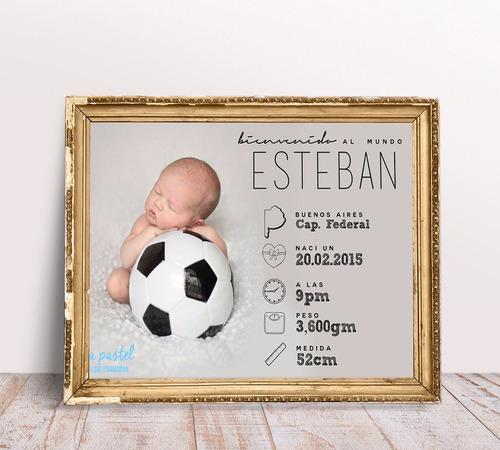 lamina imprimible personalizada cuadro nacimiento bebe