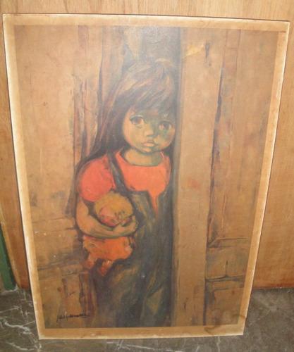 lamina niña - nelly alvarez  (pegada sobre chapadur) 40x57cm