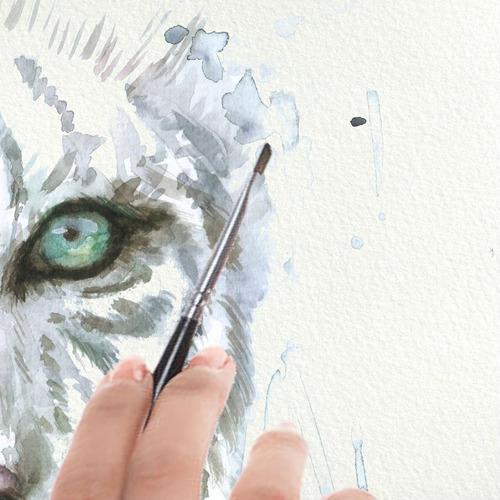 lámina poster decor cuadro tigre blanco en acuarela 32 x 45