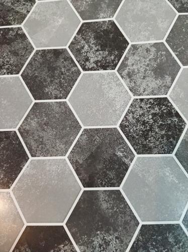 lamina pvc azulejos autoadhesivos hexagonales 1,25x0,60 mts