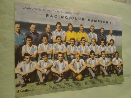 lamina racing club campeon 1958 - el grafico