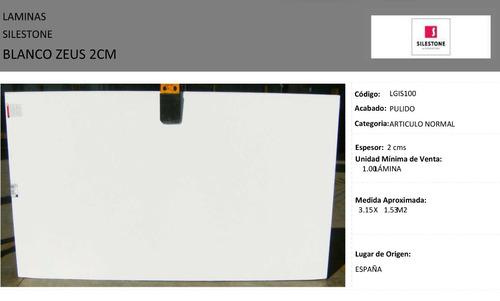 lamina silestone blanco zeus - original- precio insuperable
