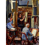Alumnos En Clase De Pintura - Artistas - Lámina 45 X 30 Cm.