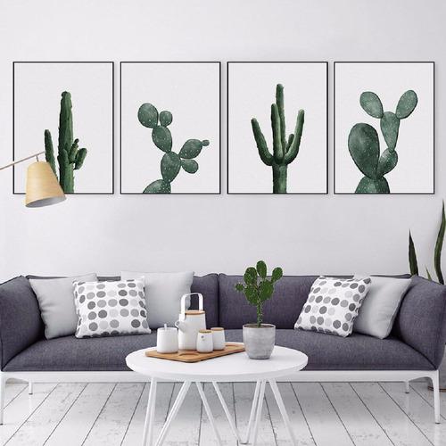 láminas imprimibles set cactus x 4 - para cuadros deco