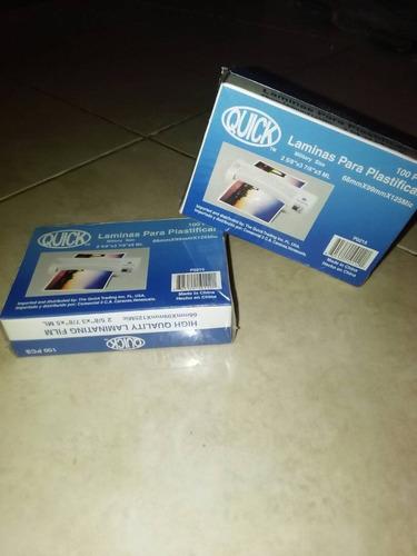 láminas para plastificar, 100 unds 66mm x 99mm x 125micras