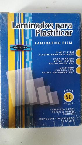 laminas p/plastificar carnet y cedula officeline 175mic