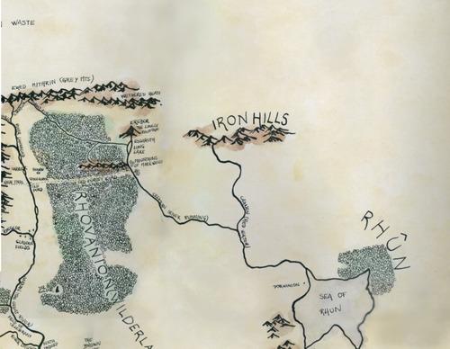 láminas señor de los anillos - tolkien mapa me- puerta moria