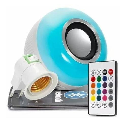 lampada bluetooth led rgb branco caixa som musical bulbo-667