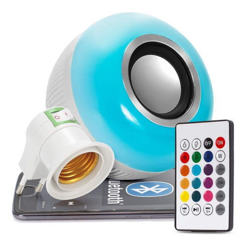 lampada bluetooth led rgb branco caixa som musical bulbo