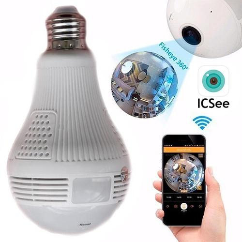 lampada câmera espiã segurança v360 wifi panorâmica b13-l