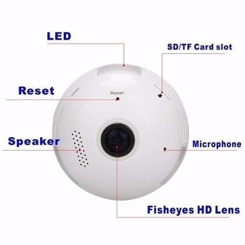 lampada espiã ip 360° hd panorâmica led wifi 3g visão grava