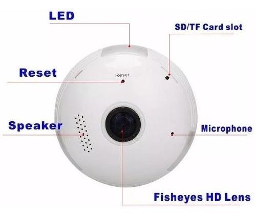 Lampada Espiã Ip 360° Hd Panorâmica Led Wifi Grava App V380