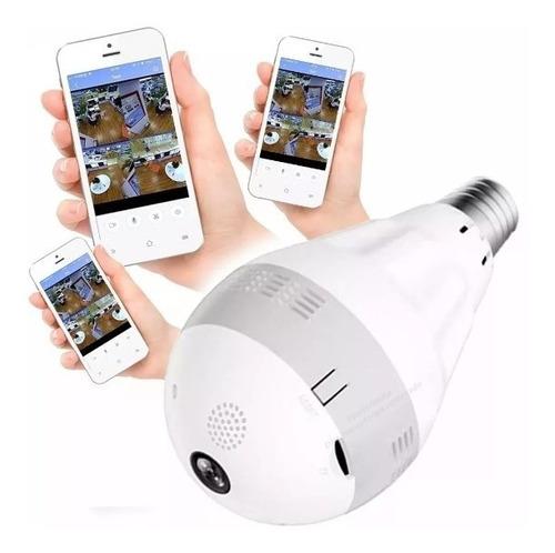 lampada espia camera panorâmica hd wifi ip led 360º celular
