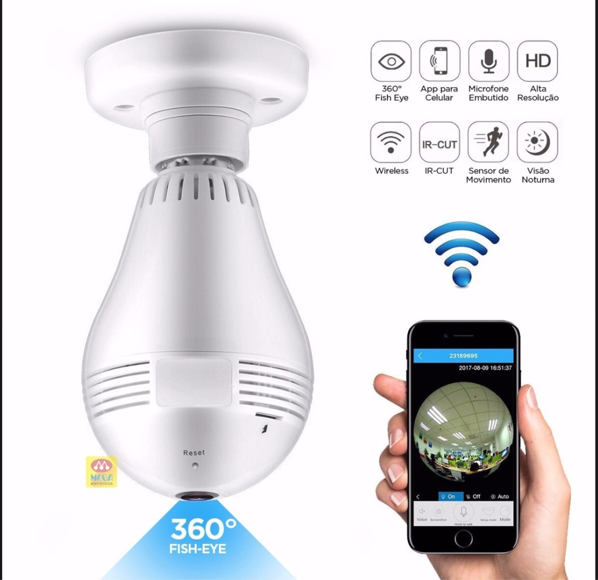 Lampada Espiao Câmera 360 Hd Android iPhone Wifi App V380