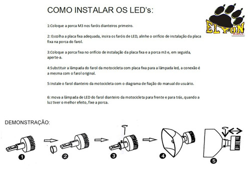 lampada farol led moto bi-xenon 8000k / 4400 lumens