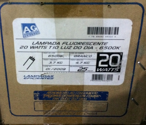 lampada fluorescente t-10 60 cm , 20 w bivolt caixa 25 peças